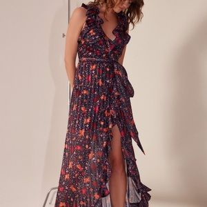 C/Meo Collective Floral Pleated Ruffle Maxi L